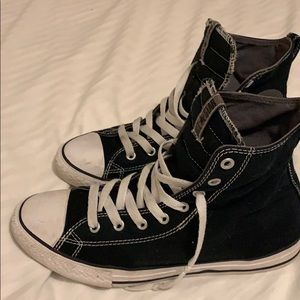 Converse Black with white stitching lines